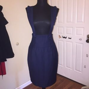 LUX Navy Blue Pencil Skirt w/ Suspenders