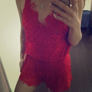 Dresses & Skirts - Restock! Red Lacey Romper
