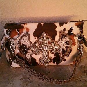 Handbags - Cow Print Western Style Cross Handbag