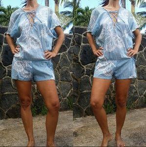 Indah blue butterfly laceup romper batik coverup M