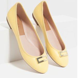 Zara Yellow Metal Detailed Ballerina Flat Shoes