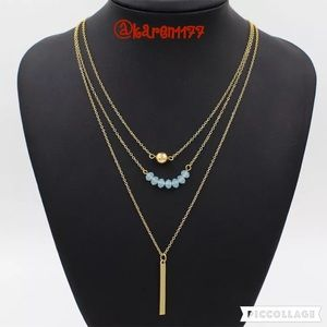 Jewelry - New 3 Dainty Layered Gold Necklace Blue Gems
