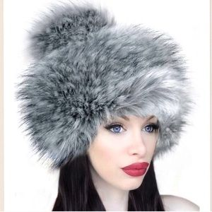 IMPOSTER Faux Fur Russian Hat with Pom Pom