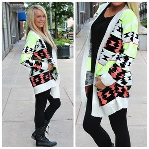 Lime Aztec thick sweater cardigan