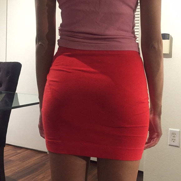 53% off H&M Dresses & Skirts - H&M tight red mini skirt / red ...