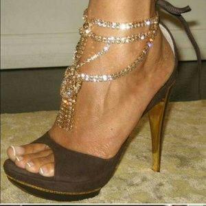 Francesco Sacco  Shoes - Francesco Sacco Chocolate Brown Gold Rhinestones 9