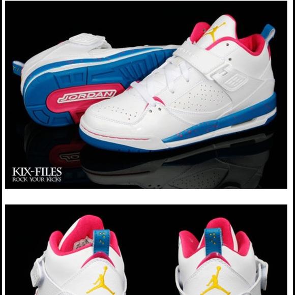 sports shoes 95f5d 3a2a7 Jordan Shoes - Nike Air Jordan Flight 45 - White Blue Pink Yellow