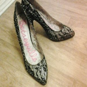 Betsey Johnson Shoes - Black Lace Heels w/ Crystals Pink Paisley sole