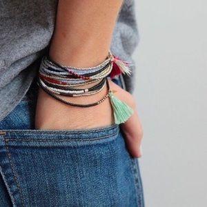 Coral Beaded Wrap Bracelet