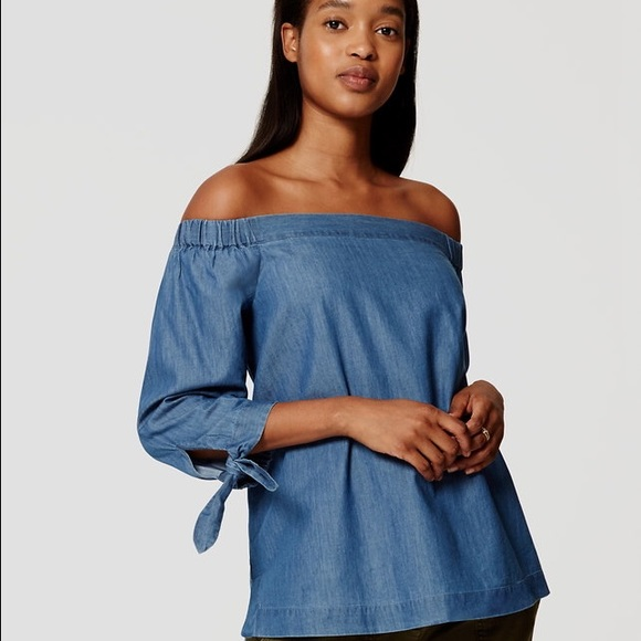 3f30d493c3 LOFT Tops - Loft chambray off the shoulder top