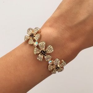 Betsey Johnson gold pavé flower bracelet