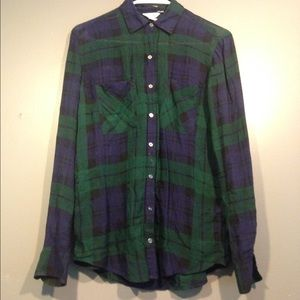 Tops - Skull plaid button up