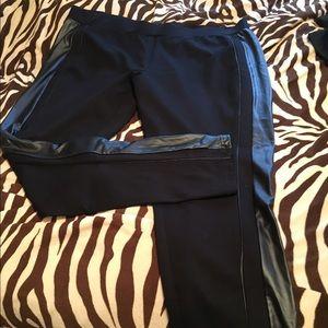 Plus size faux leather trimmed leggings