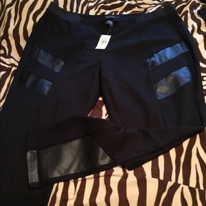 Faux leather and Hanst black stretch pants