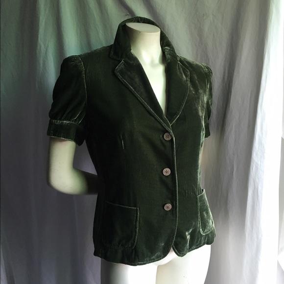 91% off Tahari Jackets & Blazers - Tahari M Green Velvet Short ...