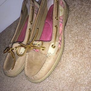 Pink plaid Sperry top sider women's shoes