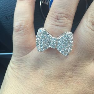 Jewelry - New gorgeous silver plated bow ring diamond size 8