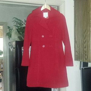 Old Navy Jackets & Blazers - Old Navy red, wool long pea coat