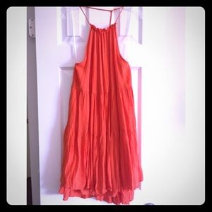 Orange summer t-strap dress
