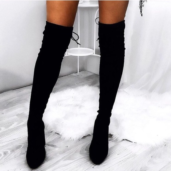 a3df420b3fd 🍂Black Suede Over the Knee Boots