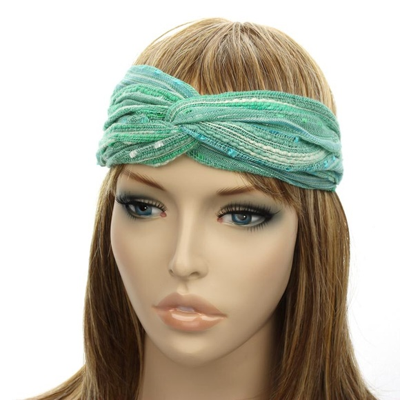 LAST 1 Green turban headband boho gypsy glam a922b22a1cd