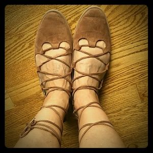 Lace up camel colored flats