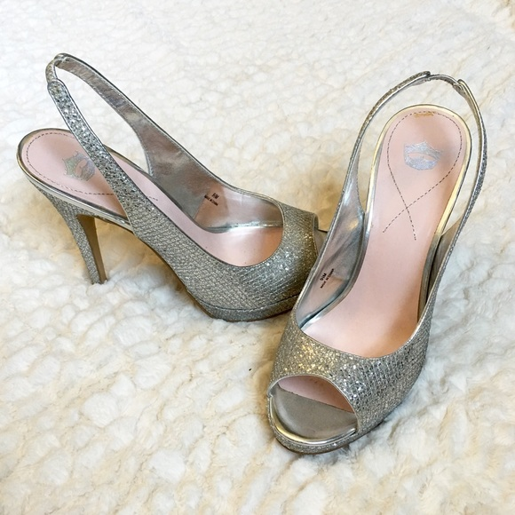 DSW Shoes | Silver Peep Toe Heels