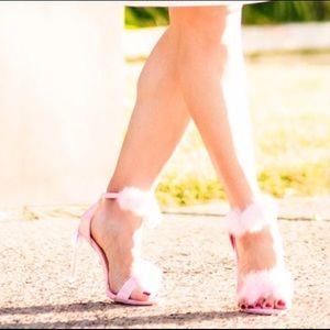 Shoes - POM POM FAUX FUR ANKLE STRAP SINGLE SOLE HEELS