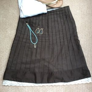Brown Cotton Ann Taylor Skirt