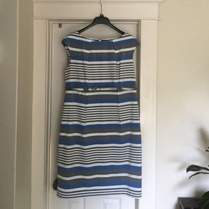 Calvin Klein dress. Blur, white, gray stripes.