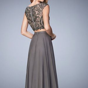 La Femme Dresses | Long Two Piece Gunmetal Grey Prom Dress | Poshmark
