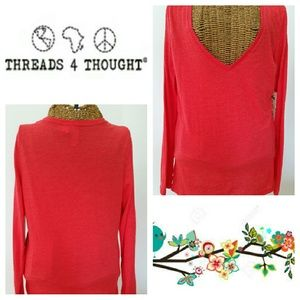 Threads 4 Thought Tops - 2for20 Threads 4 Thought orange V neck shirt M NWT