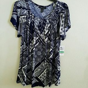 Style & Co Tops - NWT-Women's Style & Co. SS Long Stretch Top:Lg.