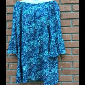 New Blu Pepper blue floral off shoulder tunic