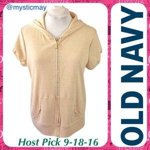 Old Navy Sweaters - Gold Metallic Zip-Up Short Sleeve Hoodie Size XXL