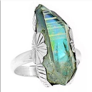 Jewelry - 💠RAW CUT, AQUA AURA STONE & REAL GOLD RING•925 SS