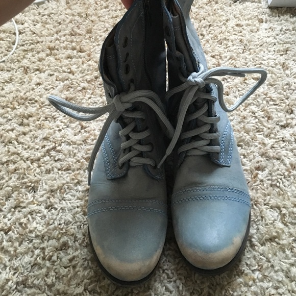 78% off Steve Madden Shoes - Light blue Troopa Combat boots from