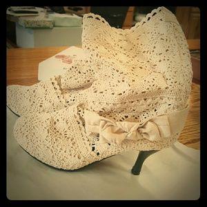Brand New Ivory Crochet Boots