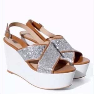 Zara glitter wedges, size 9, new
