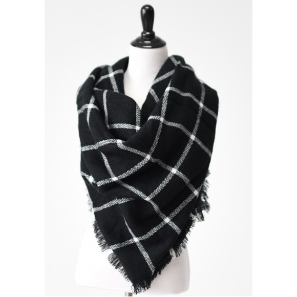Accessories | Hp Black And White Plaid Blanket Scarf | Poshmark