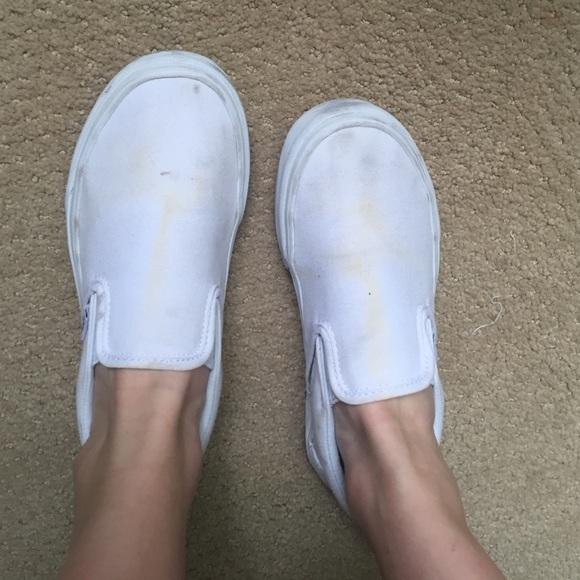 Vans Shoes | White Slip On Vans | Poshmark