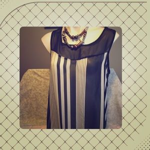Tops - Black and White Striped Sheer Sleeveless Top