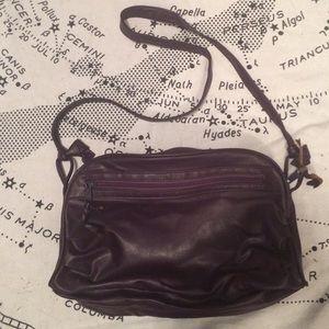 Purple faux leather cross body bag