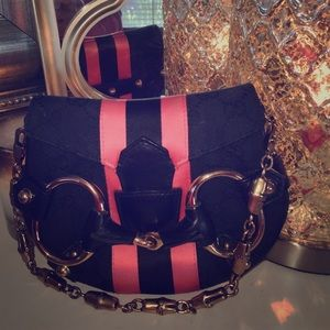 Tom Ford for Gucci Black w/ Pink Racerstripe Purse