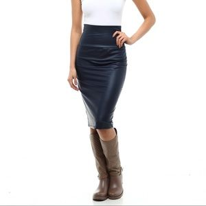 Dresses & Skirts - Navy Artificial Leather Pencil Skirt (Runs Small)