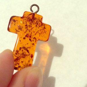 Jewelry - Amber Cross Pendant (25mm) ⚱price drop
