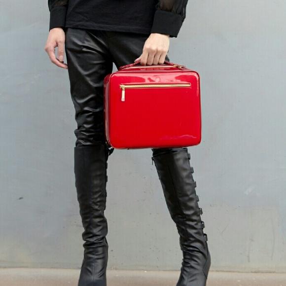 Red High Gloss Travel Makeup Bag NEW Stylish Cute