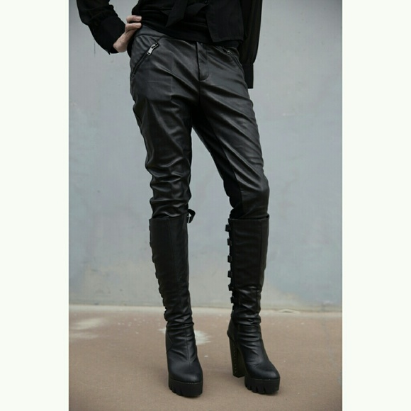 Black Faux Leather Skinny Fitted Pants Juniors Med