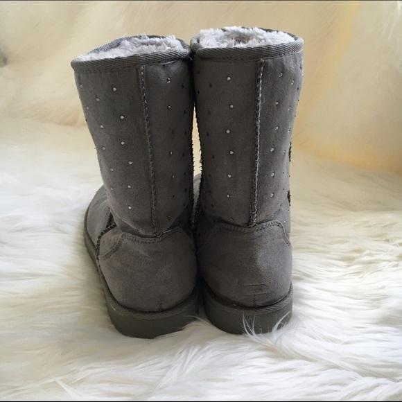 merona merona grey rhinestone studded boots from deborah
