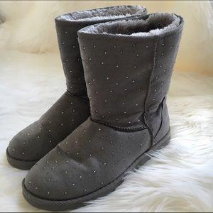 Merona grey rhinestone studded boots
